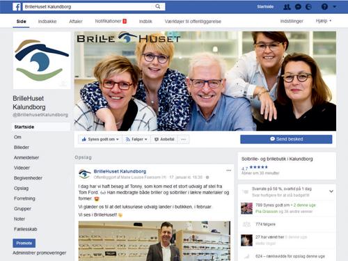 BrilleHuset Kalundborg Administration af Facebook
